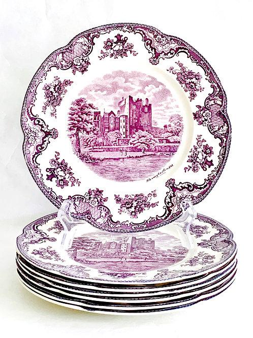 Lavender Transferware Dinner Plates set of 7