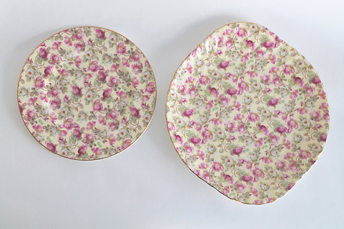Yellow and Pink Rose Chintz Plates, Set of 2