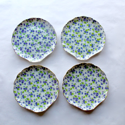 Violet Chintz Snack Plates, Set of 4
