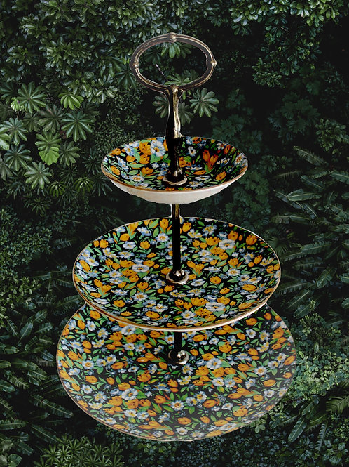 Midnight Chintz Three-Tier Cake Stand