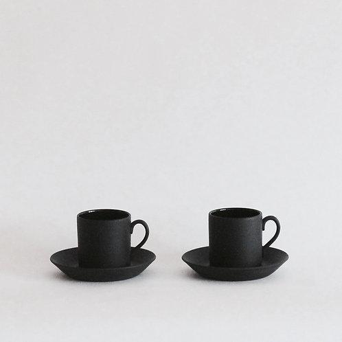Wedgwood Black Basalt Espresso Cup and Saucer