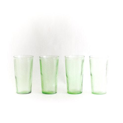 Green Swirl Tall Tumblers, Set of 4