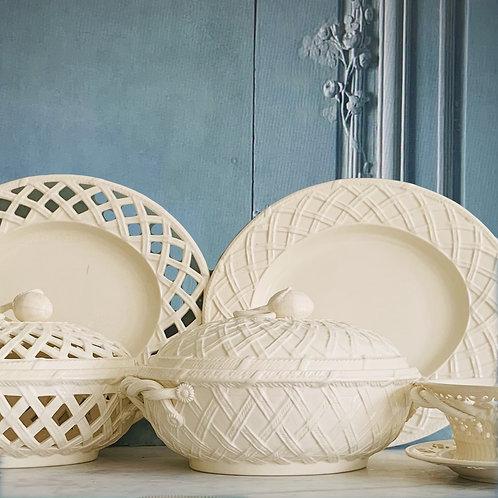 Leeds Pottery Classic Creamware Basketweave Covered VegetableDish and Platter
