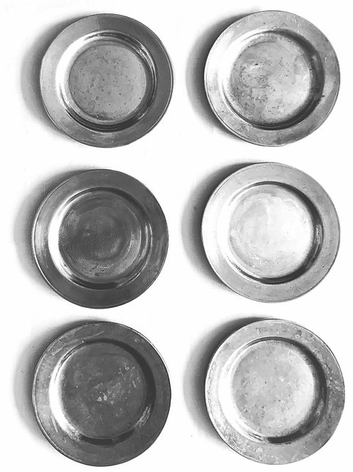 Pewter Tavern Plates, Set of 6