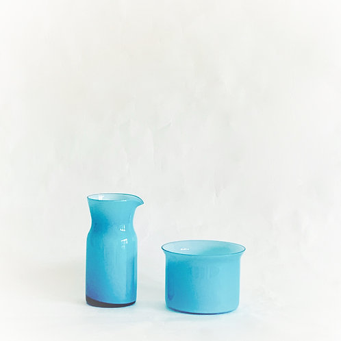 Turquoise Glass Milk and Sugar set