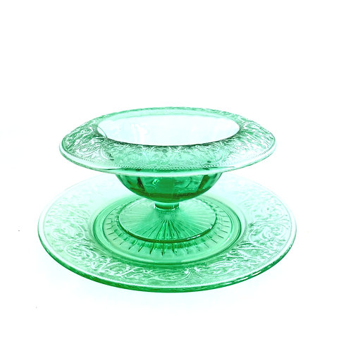 Uranium Glass Footed Bowl and Plate