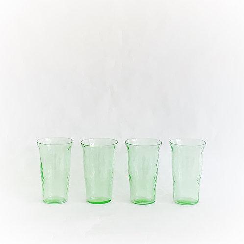 Green Vaseline Juice Glasses set of 4