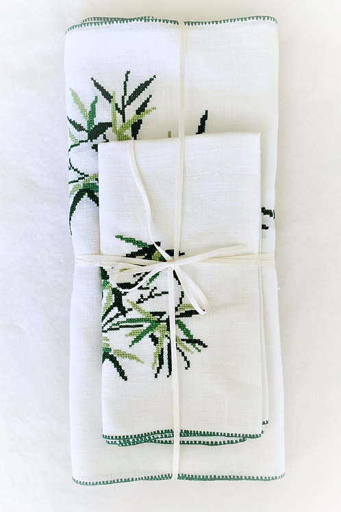 Bamboo Leaf Placemat and Napkin Sets for 2