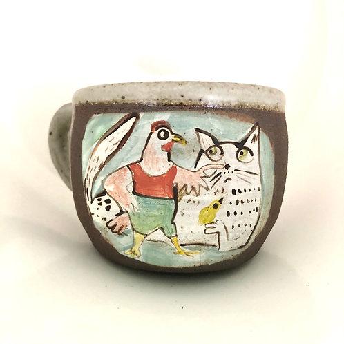 Cat and Chicken mug