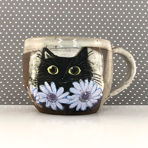 Kitty with Asters