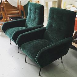 Pair of vintage Italian chairs in green