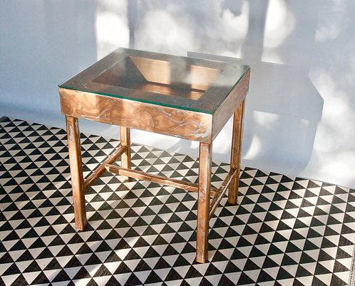 Aluminum, Hand Painted, Side Table with Glass Top