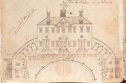 Antique drawing of Mount Vernon from 1790's insurance policy.