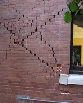 Cracked brick wall damaged from earthquake