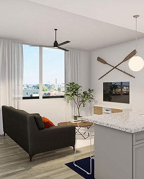 View of high rise apartment living room with tv, couch, kitchen island, window view