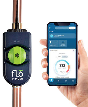 Flo by Moen device and hand holding cell phone with Flo app showing