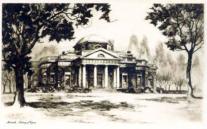 Library of Virginia black and white drawing of front of Monticello