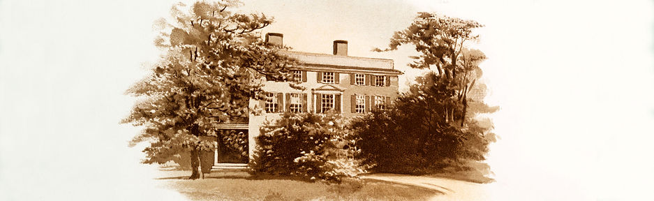 Sepia drawing of federal house with trees surrounding it.