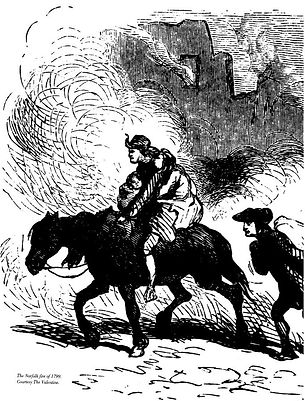 Antique etching of Norfolk fire, couple holding baby on horseback with fire in background