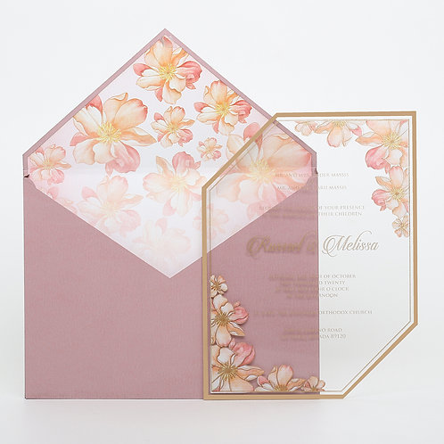 Blush Clear Acrylic Invitation (Sample)