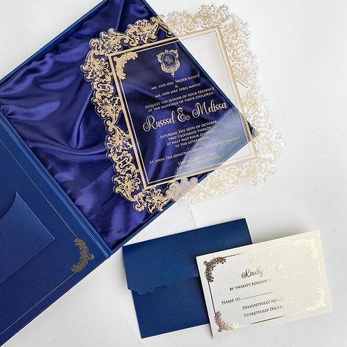 Blue Clear Acrylic Invitation (Sample)