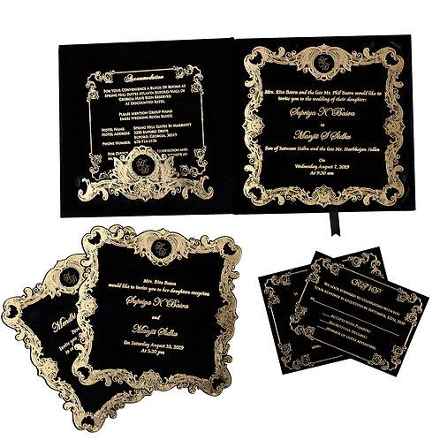 Black Velvet Wedding Invitation (Sample)