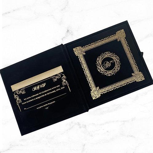 Black velvet gold foil Invitation (Sample)