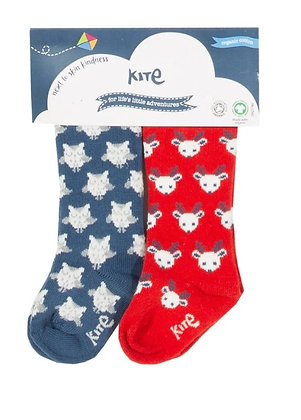 KITE 2 Pack Christmas Owl and Reindeer Socks