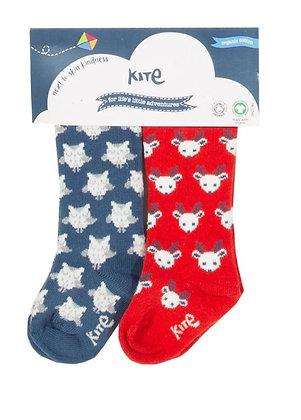 KITE 2 Pack Owl and Reindeer Socks