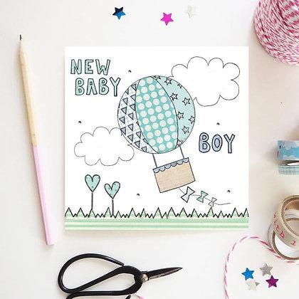 New Baby Boy Hot Air Balloon Card