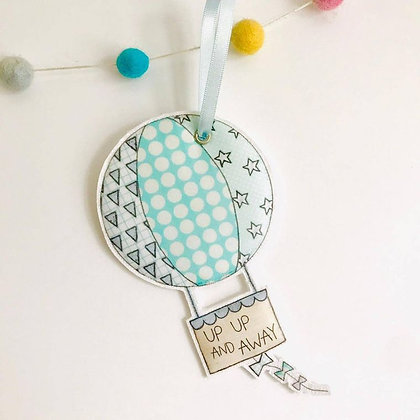 Up Up And Away Fabric Hanging Decoration- Blue