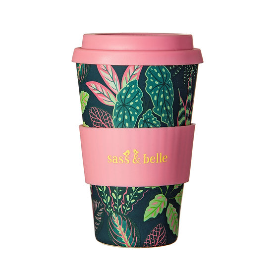 Pink Leaves Bamboo Coffee Cup
