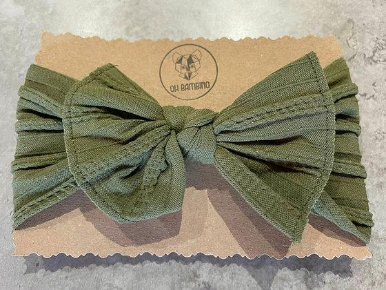Stretchy Baby Bow Headband -Olive