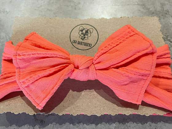 Stretchy Baby Bow Headband - Coral Reef