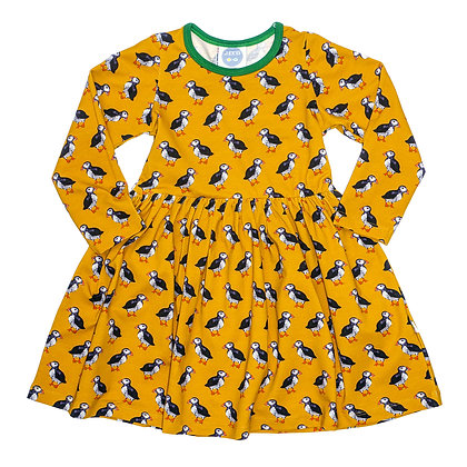 JECO 'Puffin Parade' Mustard Long Sleeve Dress