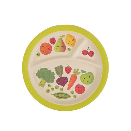 Happy Fruit & Veg Bamboo Compartment Plate
