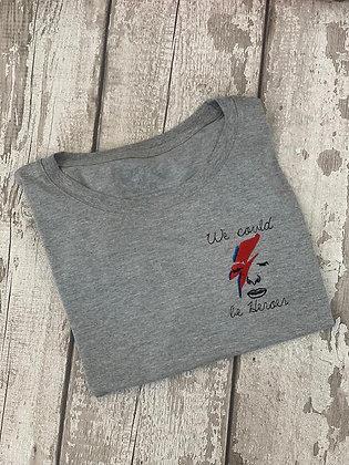 LAST ONE 5-6yr Rocket & Rose 'We Could Be Heroes' Grey Kids T Shirt