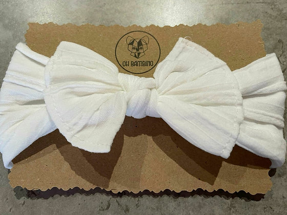 Stretchy Baby Bow Headband - Marshmallow