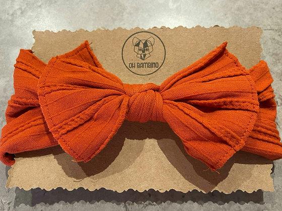 Stretchy Baby Bow Headband - Rust
