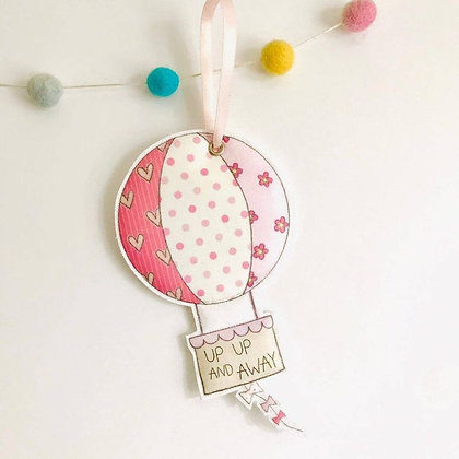 Up Up And Away Fabric Hanging Decoration-Pink