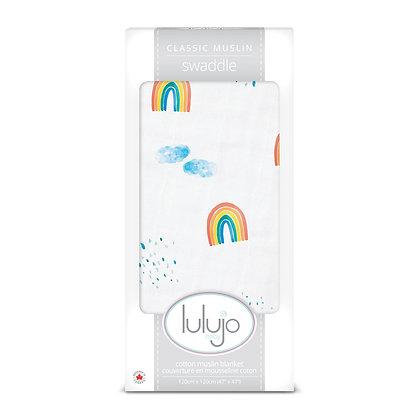 Lulujo Rainbow Sky Muslin Swaddle Blanket