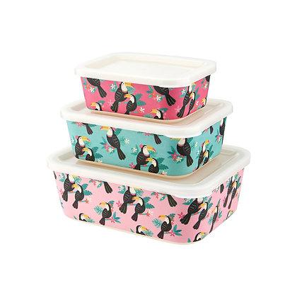 Tiki Toucan Bamboo Lunch Box - Set of 3