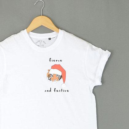 Rocket &  Rose 'Fierce & Festive' White Kids T Shirt