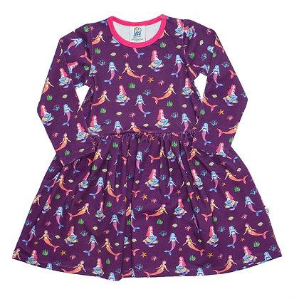 JECO 'Mystical Mermaid' Purple Long Sleeve Dress
