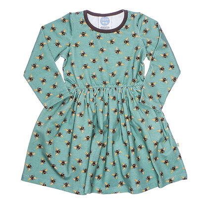 JECO 'Buzzing About Bee's' Teal Long Sleeve Dress