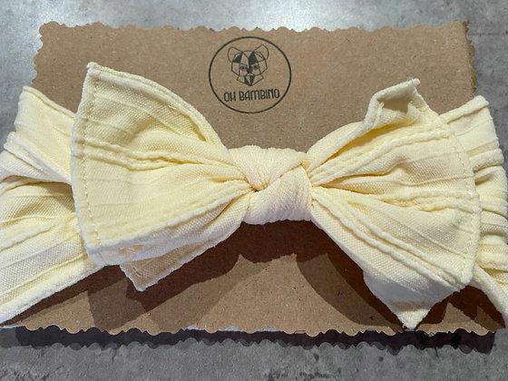 Stretchy Baby Bow Headband - Vanilla Sundae