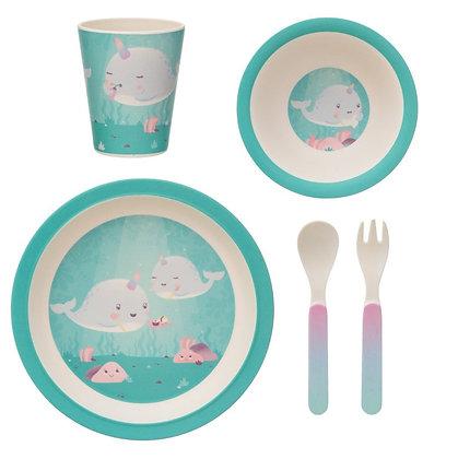 Alma Narwhal Bamboo Tableware Set