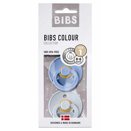 BIBS Dummies Twin Pack Size 1 Sky & Baby Blue