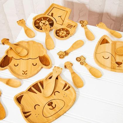 Baa Baa Bamboo Plate and 3 Piece Spoon Set