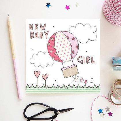 New Baby Girl Hot Air Balloon Card